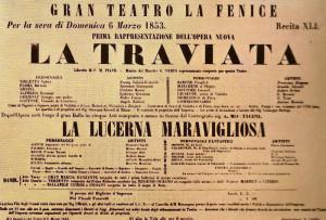 La Traviata - Plakat der Uraufführung 1853
